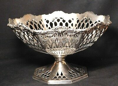Reticulated Sterling Silver Raised Fruit Bowl WrightKay Lion Hall Mark 339 Grams