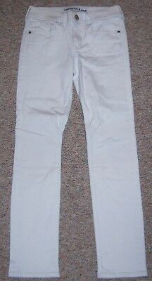 27b4a3739ebc34 EXPRESS Off-White Cropped Legging Mid-Rise Skinny Ankle Jeans Size 00  Inseam 29
