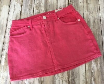 GAP Kids Girls SZ 8 Short Hot Pink Denim Jean Skirt - Adjustable Waist