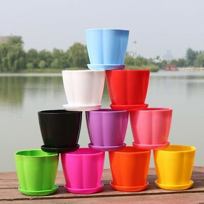 3Pcs Plastic Planting Pots Potted Flower Pot With Tray Home Garden