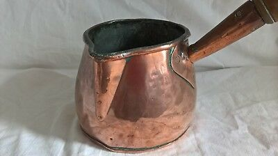 Antique Rustic Handmade Copper Pot Gypsy Campfire Turned Wood Handle