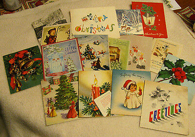 """16 VINTAGE 40'-50's SIGNED CHRISTMAS CARDS MOST 4"""" X 5"""" NO ENVELOPES CLASSIC"""