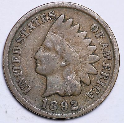 1892 Indian Head Cent Penny / Circulated Grade Good / Very Good 95% Copper Coin