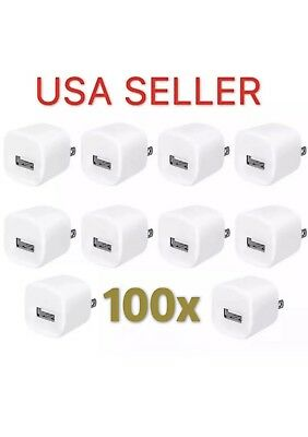 100X USB Wall Charger Power Adapter AC Home US Plug for iPhone 7 8 X Samsung LG