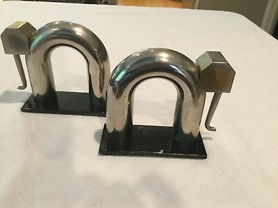 Machine Age Art Deco Chase Elephant Bookends Modernistic