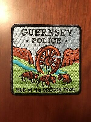 Guernsey Wyoming Police Patch State Shape