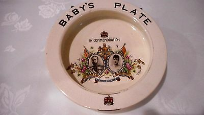 1911 Coronation King George V & Queen Mary Baby's Plate Dish