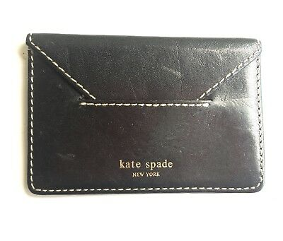 kate spade business card holder Black Leather Gold Emboss White Stitching