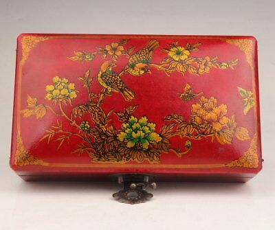 Chinese Red Gift Box Flower Bird Ornament Gifts Leather Decorative Jewelry Box
