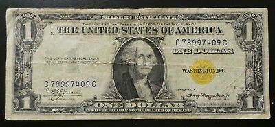 1935 US $1 One Dollar Silver Certificate Note Bill Yellow Seal North Africa