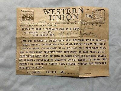 WW2 Western Union Telegram named soldier reporting for duty Sept 1943 NYC