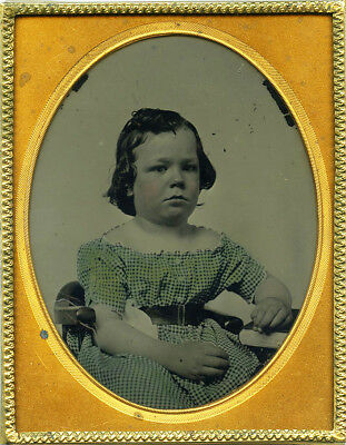 Wonderfully Tinted ¼ Plate Ambrotype of Very Young Girl in Blue Checkered Dress