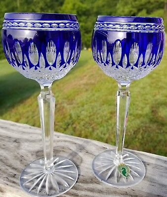 Bohemian/czech Ajka Clarendon Cobalt Blue Cut To Clear Crystal Wine Cordial Liqueurs New Signed Attractive Designs;