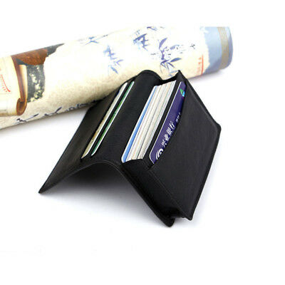 Men's Black Leather Expandable Credit Card ID Business Card Holder Wallet Case