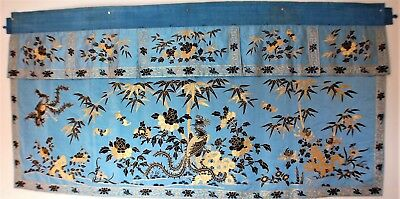 Chinese Qing dynasty 1800s Two Phoenixes Large Silk Temple Altar Frontal Hanging
