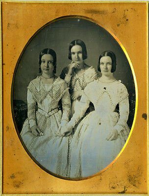 Pair of ½ Plate Daguerreotypes: 3 Coy Sisters in Matching Outfits and Fine Lady