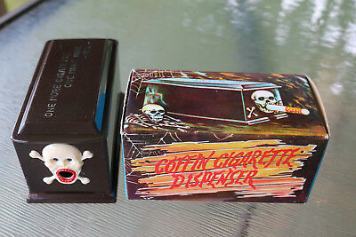Vintage Novelty Coffin Cigarette Dispenser Skeleton Skull & Crossbones in Box
