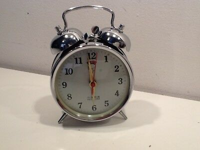 Vintage Quality Chrome Twin Bell Alarm Clock,inset alarm window,seconds hand