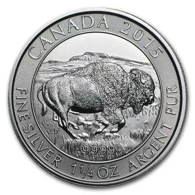 2015 1.25 oz Canada Silver Bison with Light Spotting