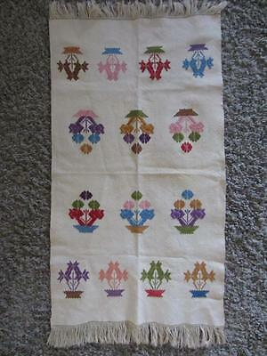 "Antique embroidered Ottoman Towel Colorful Baskets Fringed edge 16x33"" Tea Towel"