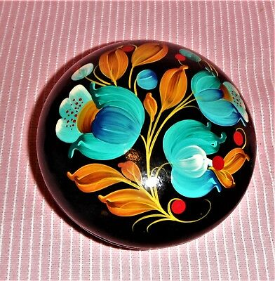 Vintage Ussr, Russian Folk Art Hand Painted Floral Wooden Laquer Round Box