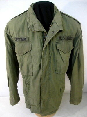 post-Vietnam US Army M65 OG-107 Combat Field Coat Jacket - Size Med/Short - 1981