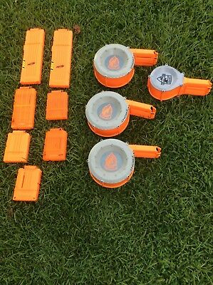 Nerf Gun Accessory Lot Of 11 Drums And Magazines