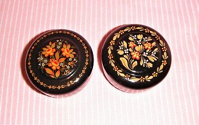 A Pair Of Vintage Ussr, Russian Folk Art Hand Painted Floral Laquer Round Boxes