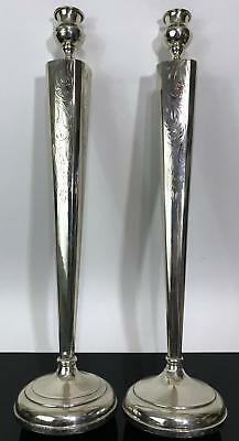 Vtg 2pc STERLING SILVER Elegant Tall Magnificent Candle Stick Holders