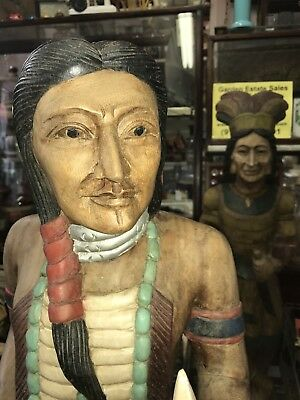 """Vintage Wooden Cigar Store Indian (with spear) approximately 40"""" Tall"""