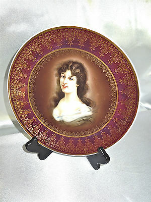 """Antique Royal Vienna Hand Painted """"Amicitia"""" Lady Porcelain Plate Vienna 1890"""