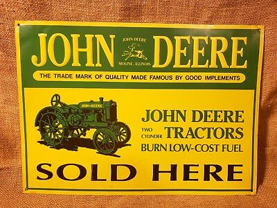 John Deere Tractors Sold Here Reproduction Metal Tin Sign Farm Mancave Barn