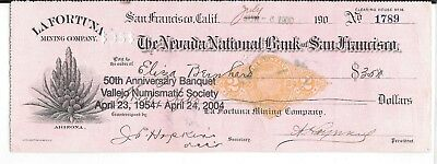 1900 Bank Check, Nevada Nat. Bank, San Francisco, Calif. Vallejo Numismatic Soc
