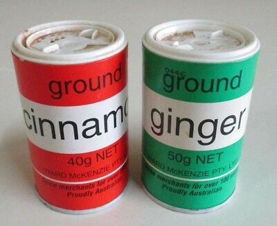Vintage Ward McKenzie Spice Containers - Cinnamon & Ginger with Contents - 1980s