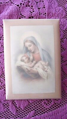 Vintage  Religious Holy Tin Picture Mary & Baby Jesus