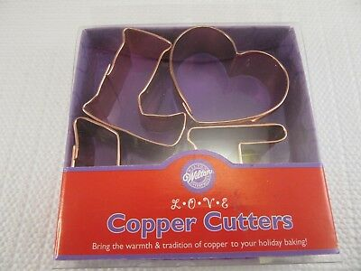 Wilton Copper Mini LOVE Set of 4 cookie cutters - 2308-3071 (2000)