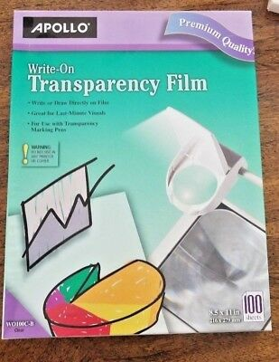 """APOLLO Write On Transparency Film Clear 100 Sheets 8.5 x 11"""""""