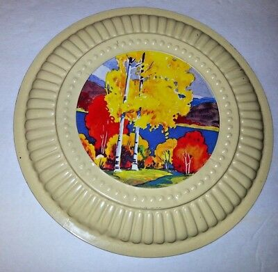 Vintage Yellow Metal Stove Pipe Chimney Vent Flue Cover Fall Trees Lake Scene
