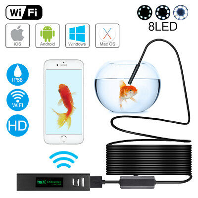 5M 8LED Semi-Rigid WIFI Endoscope Borescope Inspection Camera for iPhone BI809