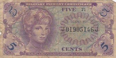 1965 USA Series 641 5 Cents Military Payment Certificate Note, Pick M57