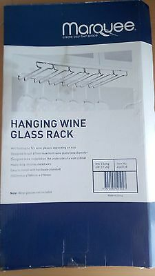 MARQUEE HANGING WINE GLASS RACK 250 x 478 x 27mm CHROME PLATED WIRE 6 RAILS