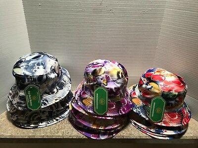Lot Of 17 Marbles Bucket Hats - 100% Cotton - Black 7, Purple 6, Red/blue 4
