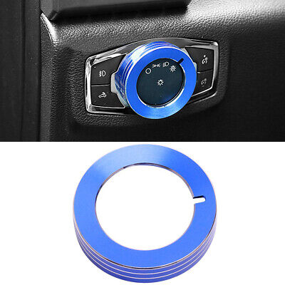 Blue Headlight Switch Knob Cover Alloy Button Trim Decoration for Ford Mustang