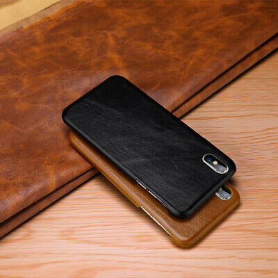 Luxury Classic Cowhide Genuine Leather Back Case Cover For iPhone X 8 7 6s Plus