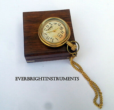 Marine Brass Vintage Pocket Watch With Wooden Box Maritime Nautical Pocket watch