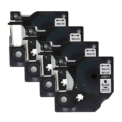 4PK 40913 Black on White Label Tape for DYMO D1 LabelManager 160 350 9mm 3/8""