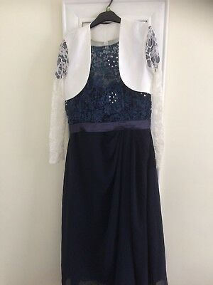 Beautiful Lacy Navy Blue 3/4 Length Mother If The Bride Dress With Satin Bolero