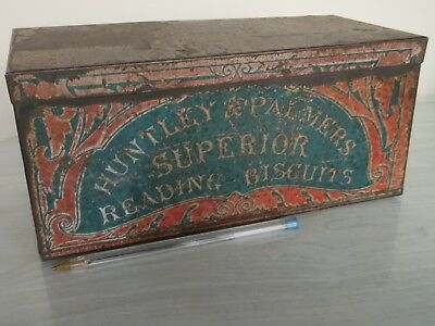 Very Old 1800's ? Huntley & Palmers  'arrowroot Biscuit Tin'' With Paper Label