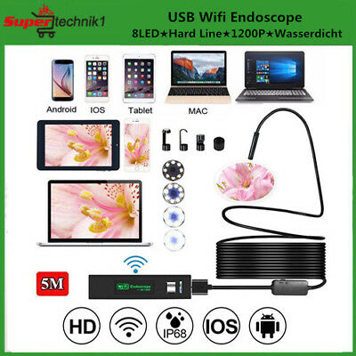 WiFi Endoskop USB Endoscope Inspektion Kamera 5M 8LED iPhone Android Wasserdicht