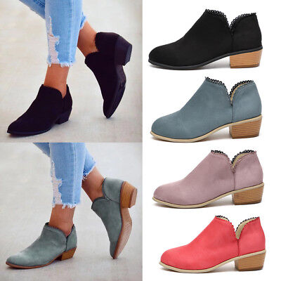 Womens Suede Ankle Boots Block Heels Ladies Summer Sandals Beach Shoes Size 4-7